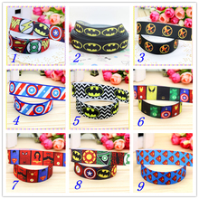 7/8'' Free shipping hero batman superman printed grosgrain ribbon hairbow headwear party decoration diy wholesale OEM 22mm S399(China)