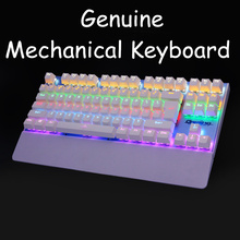 Original Backlit Anti-ghosting Gaming Mechanical Keyboard Blue Switch 87 Luminous LED Wired Keyboard Palm rest Russian sticker