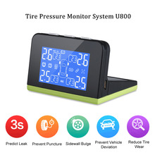 CAREUD U800 Auto Wireless TPMS Tire Pressure Monitoring System + 4 External Sensors Solar/USB Charger Blue Backlight LCD Display(China)