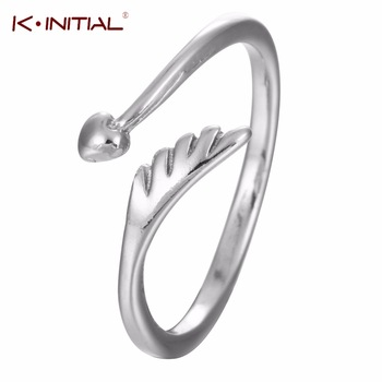 1Pcs Fashion Style Women Finger Round Ring Classic 925 Silver Heart Ring Angel Wings Open Ring Jewelry Gift anillo de plata an