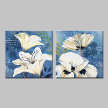 Indigo Impressions white flowers art print canvas painting home decorative wall pictures for living room Modern YH29-1807(China)