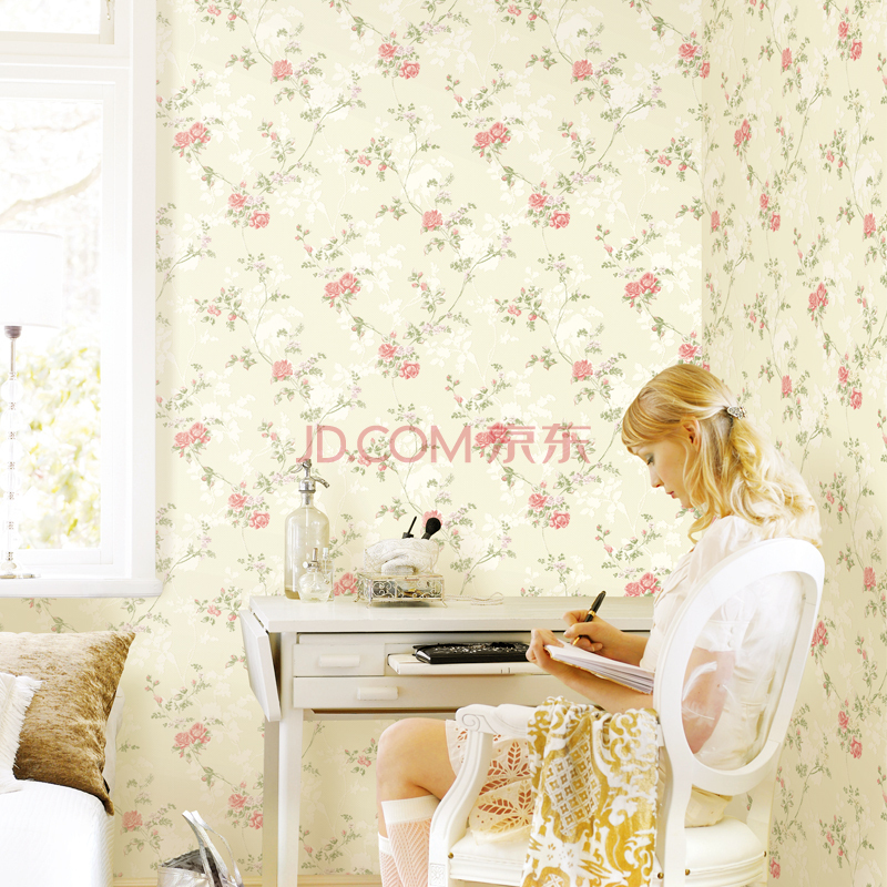 Non-woven romantic pastoral natural flowers golden surface wallpaper bedroom girl room wallpapers 4 color<br>