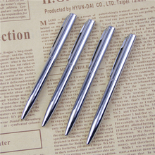 2 Pcs/lot Mini Metal Ballpoint Pen Rotating Pocket-size Pen Portable Ball Point Pen Small Oil Pen Exquisite Brief Free Shipping(China)