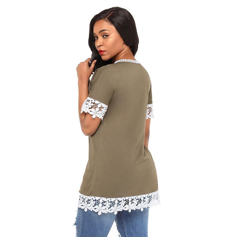 Dreszdi Lace Trim T Shirt Women Short Sleeve Summer T-shirt Casual Tee Female Tshirt Tops black green (4)