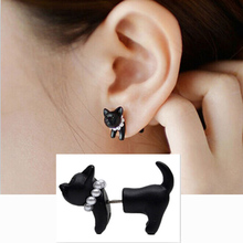 2014 Fashion Cute Woman Lady Girl Black Cat Pearl Puncture Stud Earrings 1.8*1.6cm ER619