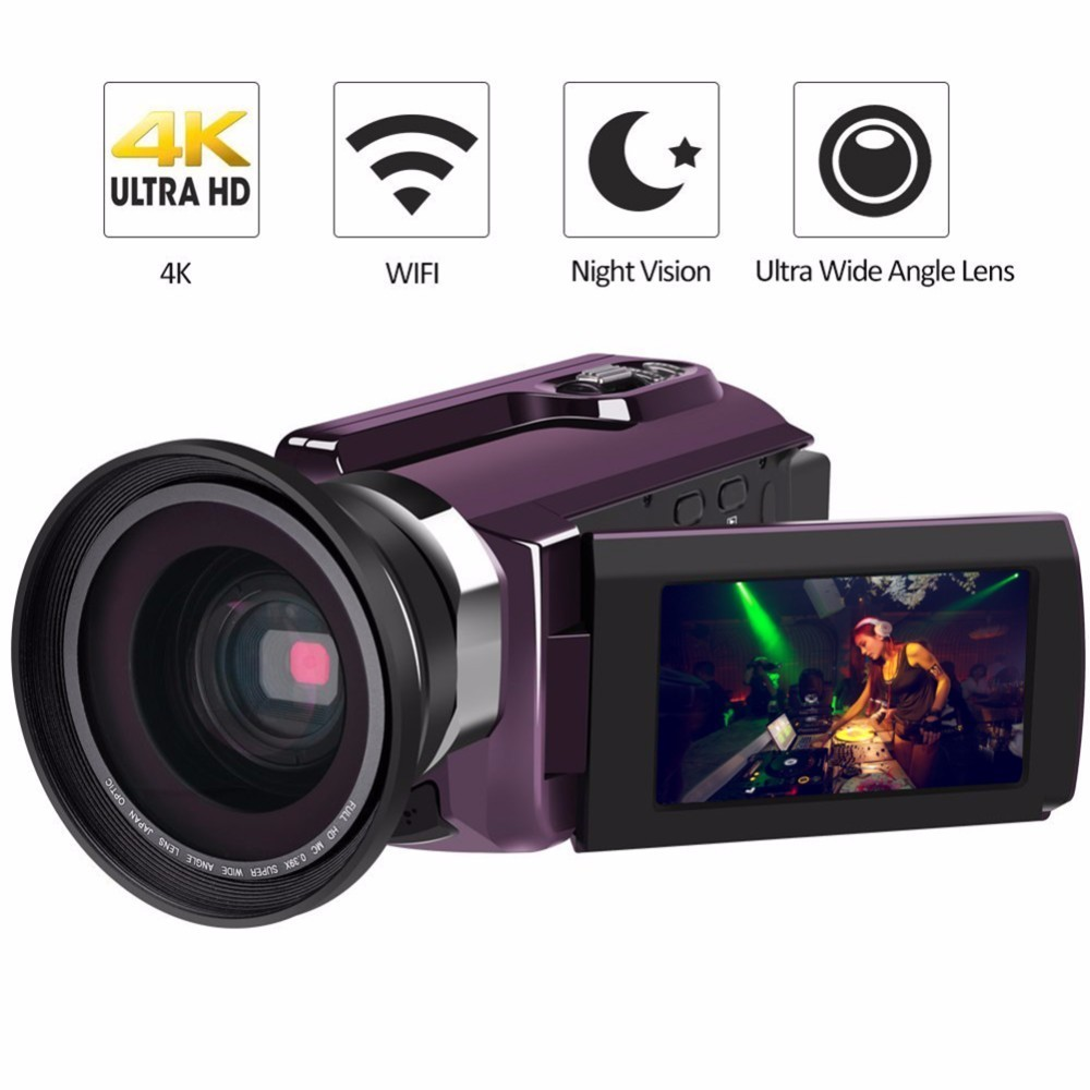 4K Camcorder Video Camera Ultra HD 60 FPS Digital Video Recorder Wifi night Vision LCD Touchscreen External with Wide Angle Lens 1