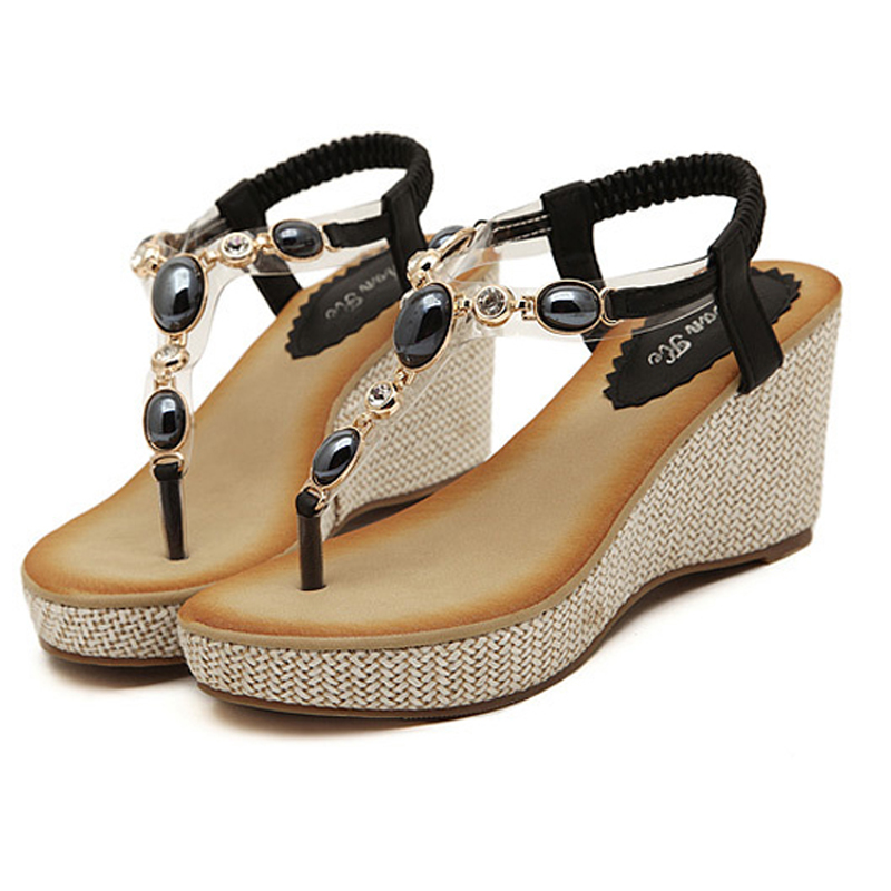 Women sandals 2017 summer high quality PU fashion string bead flip flops women comfortable elastic band sandalias mujer<br><br>Aliexpress