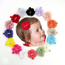 New 2015 high quality pearl flower headband hair clips baby girl hairwear baby&kids hairpins children hair accessories 10pcs/lot
