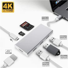 Тип C HDMI 4 К/USB3.0/SD Card/TF PD адаптер USB C конвертер для ноутбука MacBook, ChromeBook Pixel huawei MateBook(China)