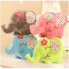 LANTIGER Super Kawaii Big Floral Elephant 12CM Approx Doll Plush Stuffed Toy Doll Sucker Car & Room & Window Pendant Bouquet(China)