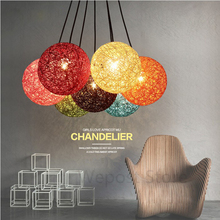 20cm Diameter Rattan ball hanging light Rope Rattan Sphere Light Loft Lamp Retro Globe chandelier for Art restaurant Bar Decor