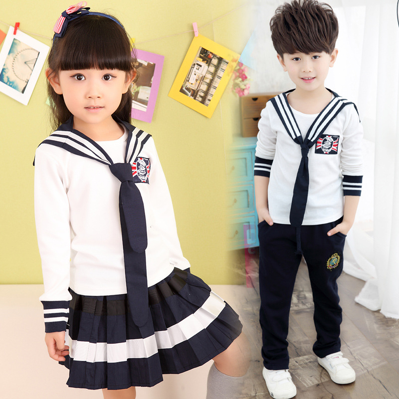 Navy Style 2017 baby boy clothing set children girls clothes set casual Long sleeve + skirt /pants the campus suit 3 piece set<br><br>Aliexpress