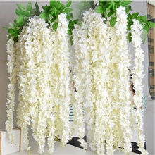 1pcs Rattan Strip Wisteria Artificial Flower Vine For Wedding Home Party Kids Room Decoration DIY Craft Fake Flowers Supplies(China)