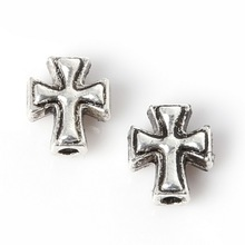 New Arrival 12pcs/bag 8*10mm Antique Sliver Plated Zinc Alloy Metal Charms Cross Beads For Jewelry Making Findings
