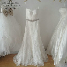 Real Sample Sleeveless Crystal Belt French Lace Off White Wedding Dress Mermaid(China)
