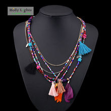 Women feather boho necklace&pendants ethnic colorful bohemia multilayer necklace collar tassel fringe tribal  necklace jewelry