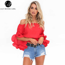 Lily Rosie Girl Ruffles Slash Neck Women Sexy Summer Blouse Top Red Off Shoulder Flare Sleeve Short Tops Party Shirt Blusas