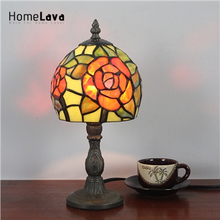 6inch European Pastoral Retro Style Table Lamp Red Rose Pattern Lamp Shade Bedroom Living Room Dining Room Lights