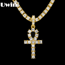 New Arrival Egyptian Ankh Key Of Life Pendant Necklace Gold&Silver Color With Bling Rhinestones Fashion Vintage Hip hop Jewelry(China)