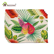 HAKOONA  Pieces Placemats Fresh Flowers Leaves Tropical Plants Printed Table Pads Cotton Linen Fabric  Decoration 42*32cm