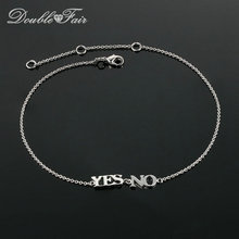 Simple Style Letter Yes No Charm Foot Chain Anklets Silver Color Fashion Brand Jewelry Gift For Women Wholesale DFA005(China)