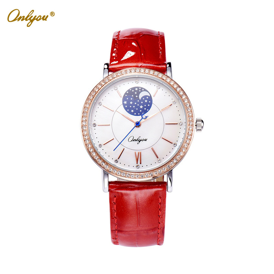 Onlyou White Ladies Leather Watch Quartz-Analog Big Dial With Rhinestones Waterproof Wrist Watches For Women Female Clock 81093<br>