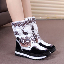 Woman Keep Warm Cotton Boots Shoes 2017 New Design Cute Deer Print Winter Snow Boots Shoes for Women
