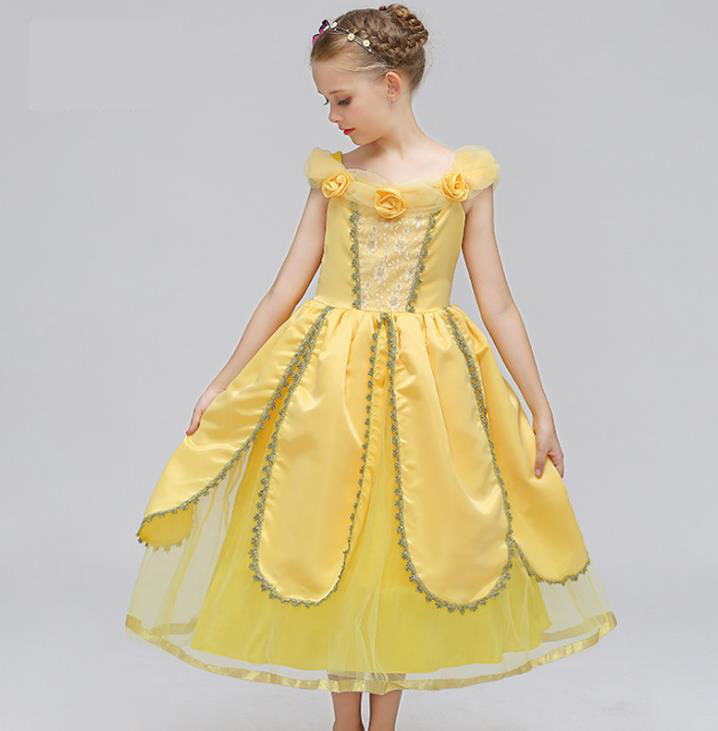 2018 New arrival Beauty And The Beast Belle Princess Dress Yellow Cosplay Childrens Day Costume Performance Dress Clothes 4-15T<br>