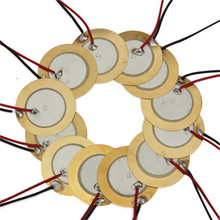 12PC Guitar Pickups Brass Piezoelectric Piezos Amplifier Discs Leads For Cigar Box Guitar Parts Accessories Musical Instruments(China)