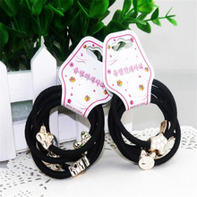 5ps/set  New Girl Lovely Bead Rubber Elastic Hair Band Rope Scrunchie Ponytail Holder Woman Accessories