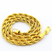 Cool Men Jewelry Top Quality 24 K Yellow Gold Vacuum Plated Necklaces 6 MM Width Twisted Figaro Chain Vogue Hot Necklace JJP048