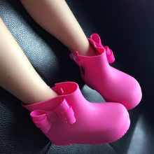Kids Rain Boots 2017 New Anti-Skid Jelly Rain Boots Boys Girls Bow Shoes Jelly Shoes Baby Water Shoes EUR25-29 four color