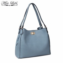 Buy 1 Get 1 at 50% Off Miss Lulu Women Designer Luxury Handbags Female Shoulder Bag High Quality Fashion Blue Tote Bags LT1753(China)