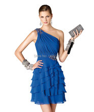 Best Price Ruched 2016 One Shoulder Tiered Blue Chiffon Custom Made A Line Short Evening Dress