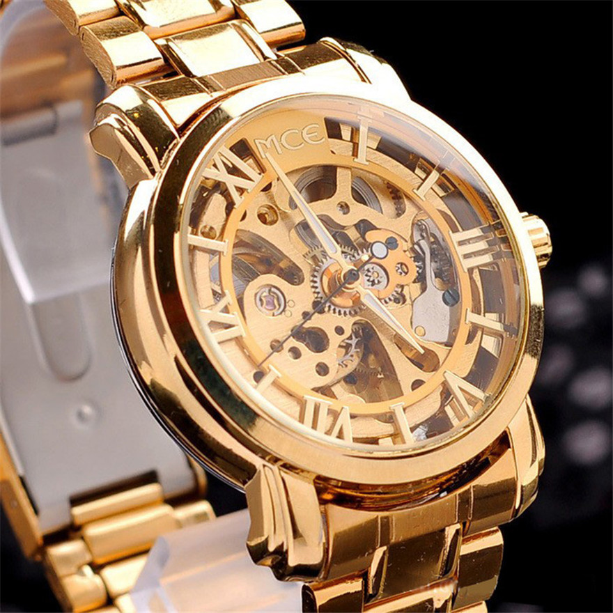Luxury Classic Mens Gold Dial Mechanical Watch Fashion Hollow Out Stainless Steel Business Watch Relogio Masculino Men Gift<br><br>Aliexpress