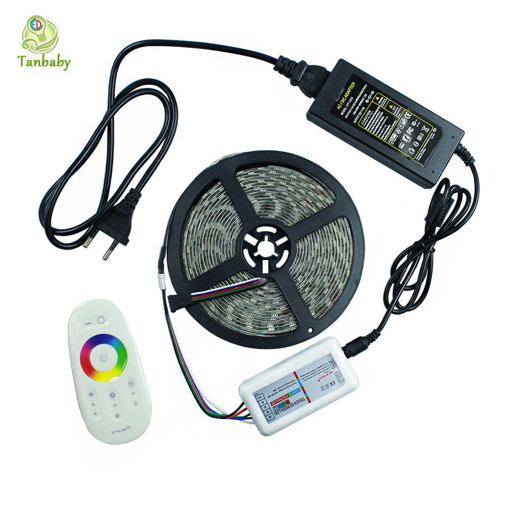 Tanbaby Waterproof 5050 RGBW RGBWW LED Strip Light flexi 5M 60 led/M + 2.4G wireless LED Controller and DC12V 5A Power adapter <br><br>Aliexpress