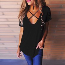 2017 Summer Holes T Shirt Women Fashion Sexy Black White Cotton Short Sleeve Ripped Tops Shirts Casual Loose T-Shirt S-XL