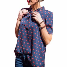New Red Lip Printed Chiffon Shirts Fashion Women Blouses Shirts Plus Size Ladies Casual Bowknot Shirts Camisas Femininas GV583