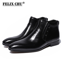 펠릭스 추 2018 New Genuine Leather Men Ankle Boots (High) 저 (탑 Zip Dress Shoes Black Yellow Rubber 솔 남성 신발쏙 ~ #36700-7(China)