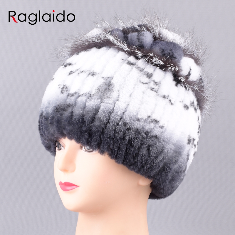Raglaido Fur Hats for Women Winter Real Rex Rabbit Skullies Snow Caps Floral handknit Beanies wide strip big flower LQ11239Îäåæäà è àêñåññóàðû<br><br>