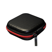 1 pc Black PU Carbon Fiber Zipper Headphones Earphone Earbuds Hard case SD Card Storage Pouch bag Carrying Hold box s2
