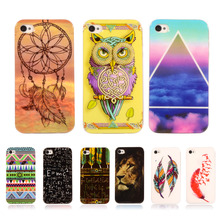 Fashion Tiger Feather Owl Pattern Printed Protective Soft TPU Case For Apple iPhone 4 4s Plastic Silicone Cover Mobile Phone Bag