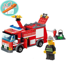 Wholesale Price! 206Pcs Fire Fighter Truck Building Blocks Fire Car Enlighten Educational DIY Construction Bricks Toys+With Gift