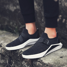 2017 Spring Summer fashion fly weave shoes men sneakers high quality breathable sport shoes New flat shoes social men shoes(China)
