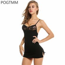 Short Mini Lace Night Dress Lingerie Sexy Erotic Hot Underwear Set Women Baby Doll Porn Chemise Female Sex Costume Black Red L3(China)