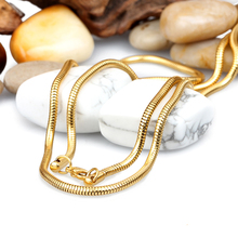 21.6'' / 30'' choose 3mm wide Casual / Sporty Style Stainless Steel Gold Round Snake Chain Necklaces Men Women Holiday Jewelry