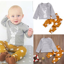 Baby Boy Outfit Kids Clothes 2pcs Newborn 6 12 18 24 Months T-shirt Top Long Sleeve Cotton Pants Set Baby Boys