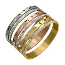 Stainless Steel Bracelets & Bangles Women Cuff Crystal Roman Numerals Bracelets Gold Color Women Party  Jewelry(BA101810)