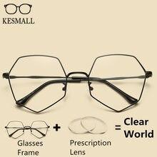 KESMALL mujeres azul gafas graduadas aleación marco hombres óptico gafas  mujer Retro lectura miopía YJ1144P 828e1fc37f54