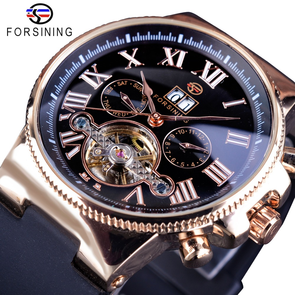 Forsining Creative Watch Roman Number Men Calendar Roman Tourbillion Men Watch Top Brand Luxury Automatic Skeleton Wristwatch<br>